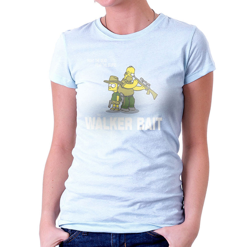 The Walker Bait Walking Dead Rick And Carl Grimes Homer And Bart Simpson Women's T-Shirt by AndreusD - Cloud City 7