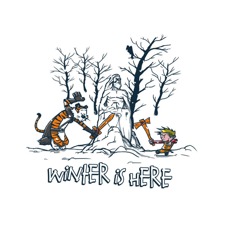 Winter Is Here Calvin And Hobbes Game Of Thrones Men's T-Shirt by AndreusD - Cloud City 7