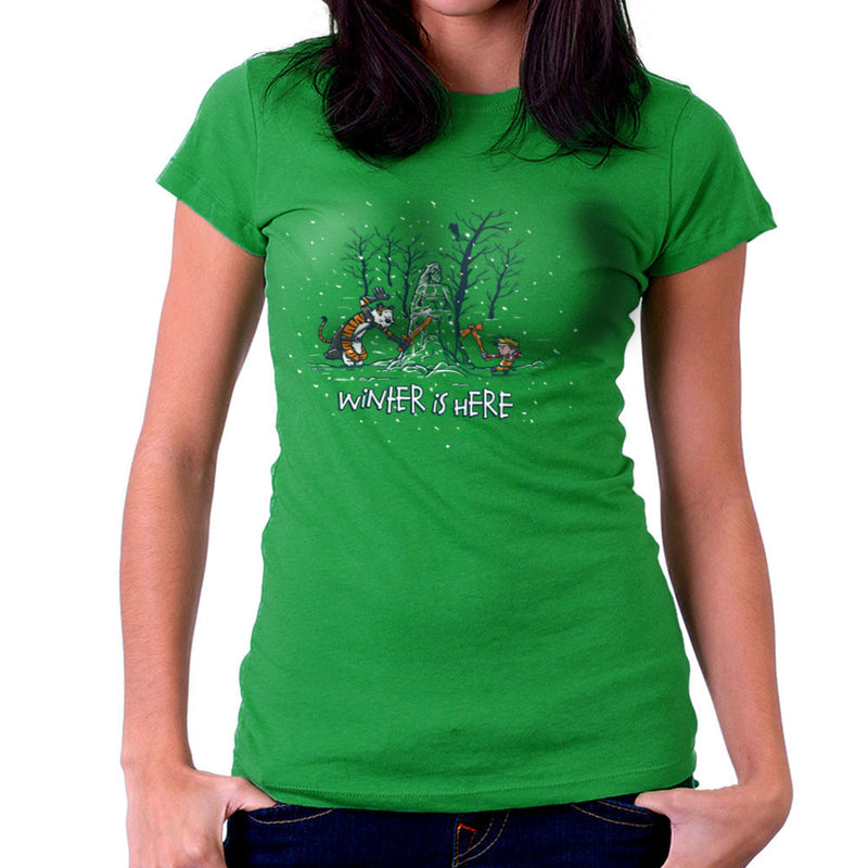 Winter Is Here Calvin And Hobbes Game Of Thrones Women's T-Shirt by AndreusD - Cloud City 7