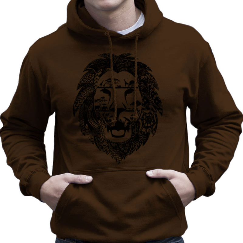 Zentangle Lion Men's Hooded Sweatshirt by Kempo24 - Cloud City 7