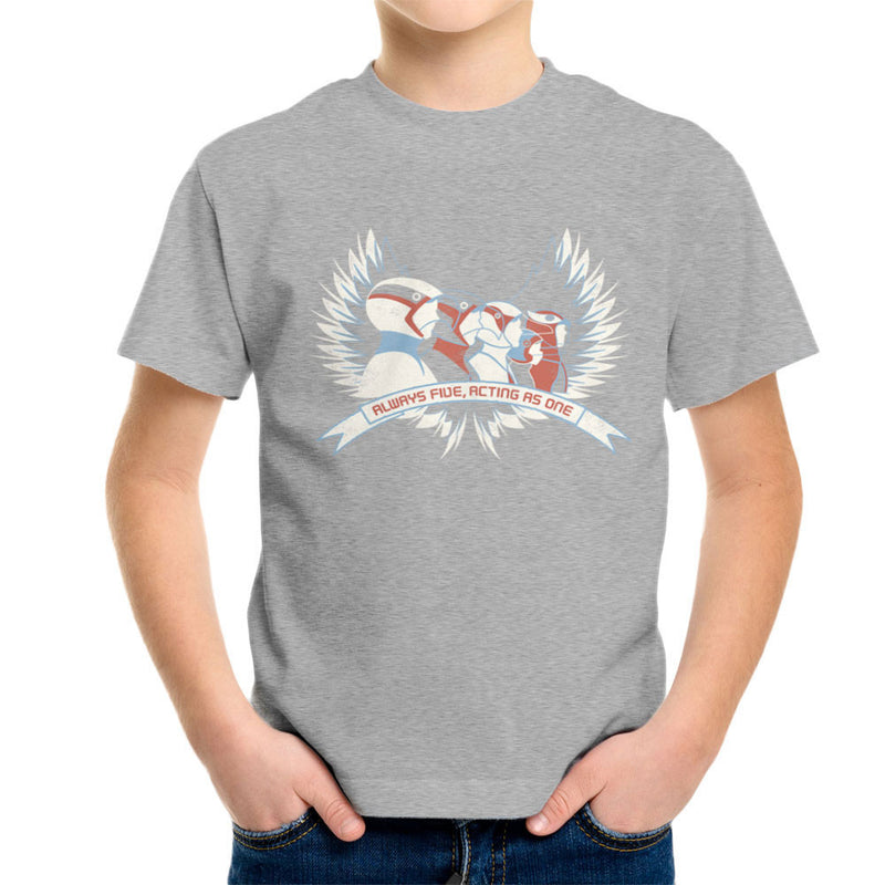 Always Five Acting As One Battle Of The Planets Science Ninja Team Gatchaman Kid's T-Shirt by Fanboy30 - Cloud City 7