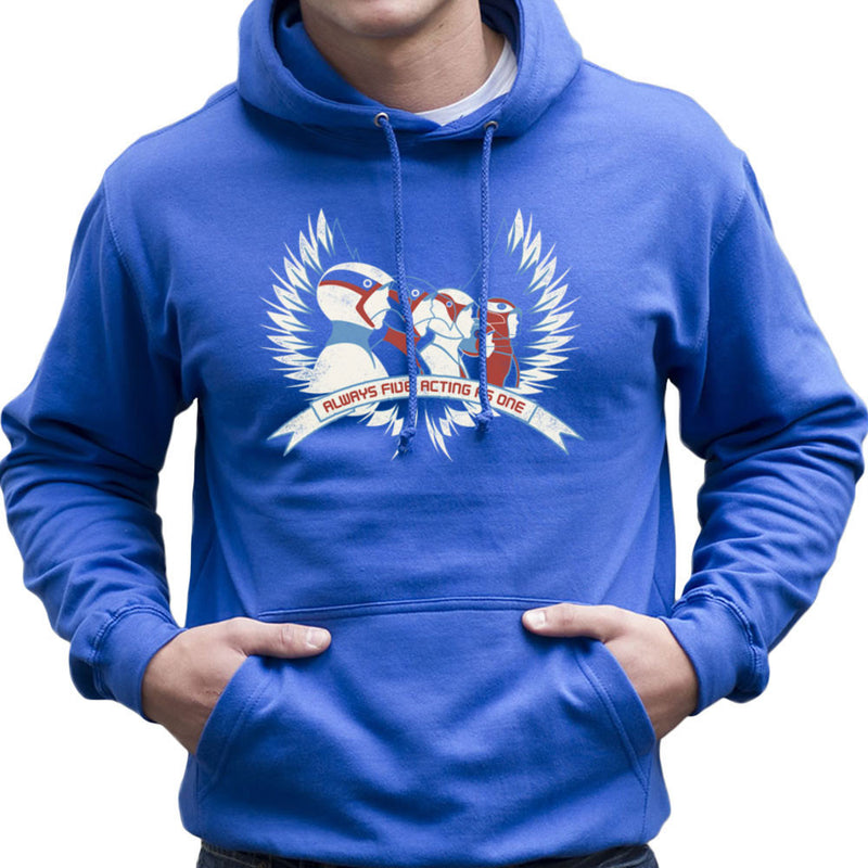 Always Five Acting As One Battle Of The Planets Science Ninja Team Gatchaman Men's Hooded Sweatshirt by Fanboy30 - Cloud City 7