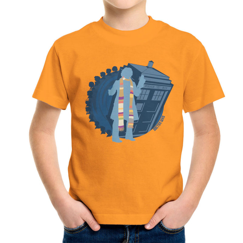 4th Doctor Who Silhouette Tom Baker Tardis Kid's T-Shirt by DeMilburn - Cloud City 7