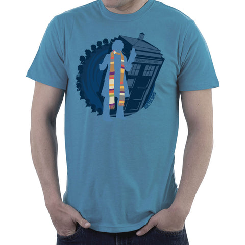 4th Doctor Who Silhouette Tom Baker Tardis Men's T-Shirt