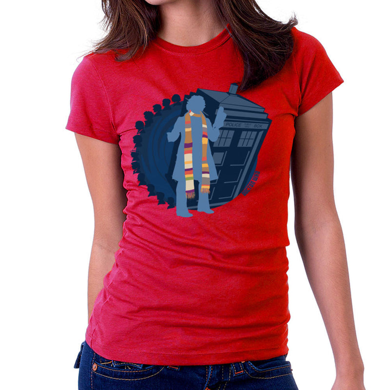 4th Doctor Who Silhouette Tom Baker Tardis Women's T-Shirt by DeMilburn - Cloud City 7