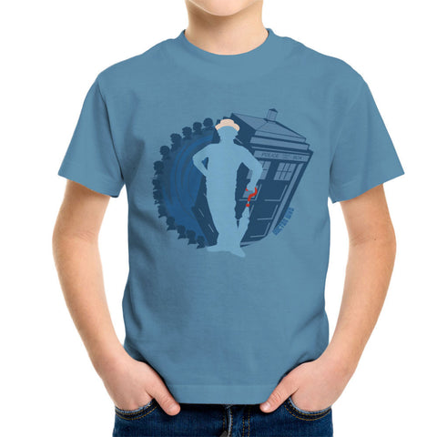 7th Doctor Who Silhouette Sylvester McCoy Tardis Kid's T-Shirt
