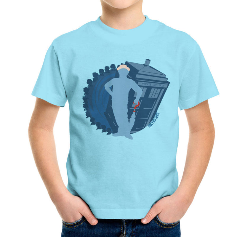 7th Doctor Who Silhouette Sylvester McCoy Tardis Kid's T-Shirt by DeMilburn - Cloud City 7