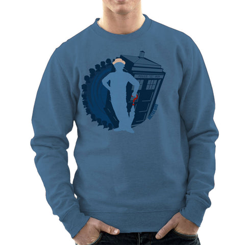 7th Doctor Who Silhouette Sylvester McCoy Tardis Men's Sweatshirt