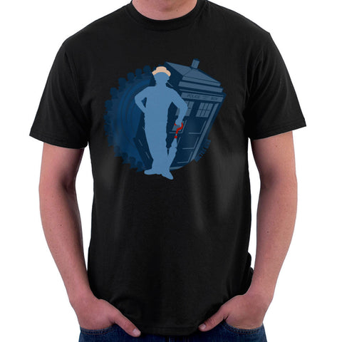7th Doctor Who Silhouette Sylvester McCoy Tardis Men's T-Shirt