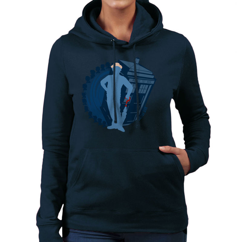 7th Doctor Who Silhouette Sylvester McCoy Tardis Women's Hooded Sweatshirt by DeMilburn - Cloud City 7