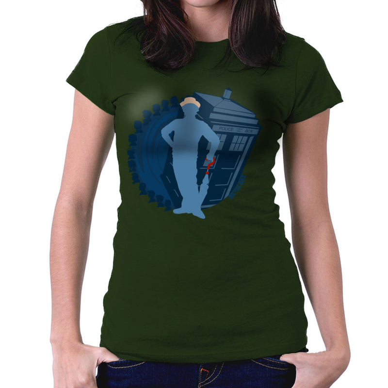 7th Doctor Who Silhouette Sylvester McCoy Tardis Women's T-Shirt by DeMilburn - Cloud City 7