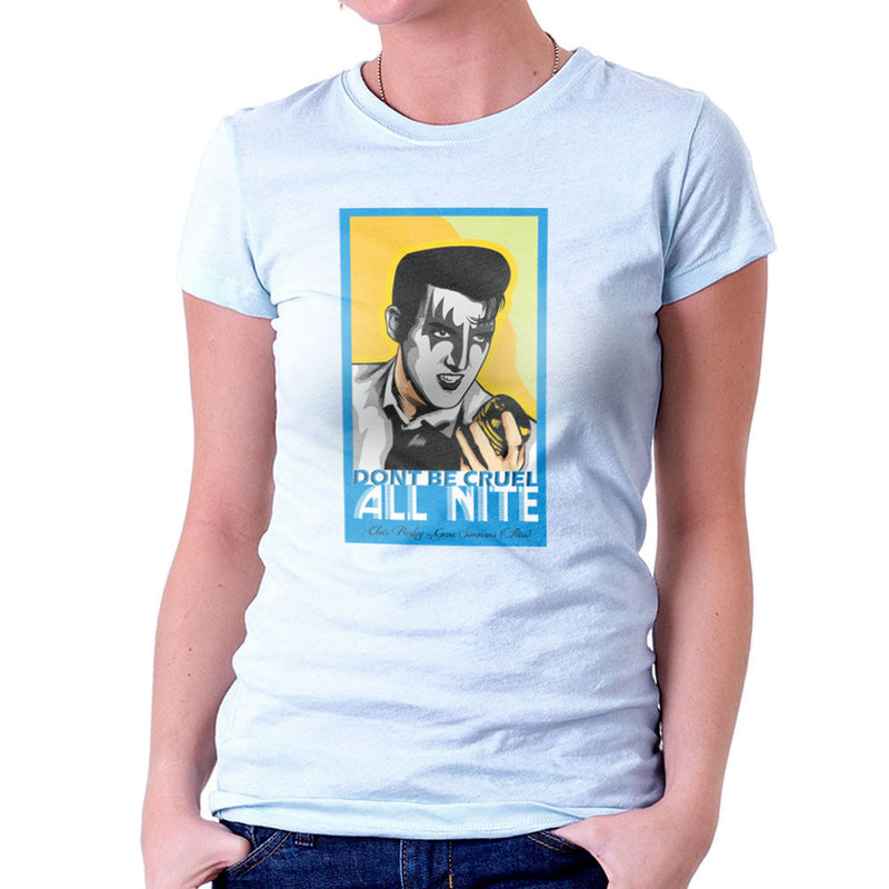 Elvis Simmons Gene Presley Rock And Roll Kiss Women's T-Shirt by Goodmorningnight - Cloud City 7
