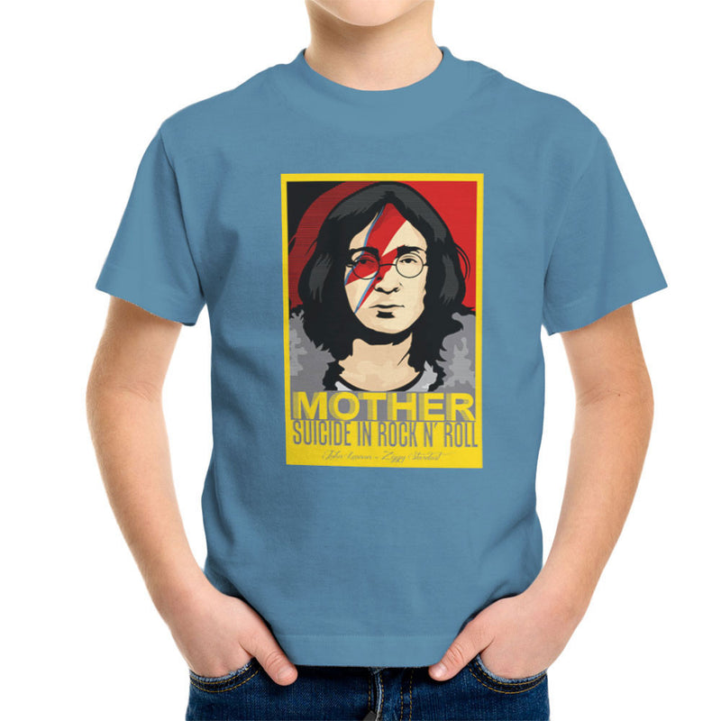 John Lennon Ziggy Stardust Mother Suicide In Rock And Roll Kid's T-Shirt by Goodmorningnight - Cloud City 7