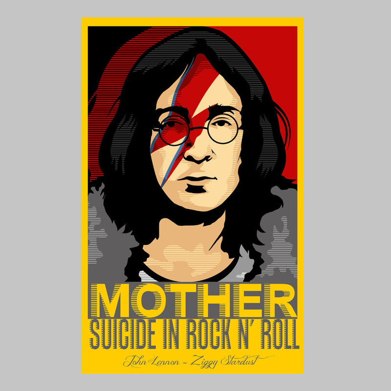 John Lennon Ziggy Stardust Mother Suicide In Rock And Roll Men's T-Shirt by Goodmorningnight - Cloud City 7