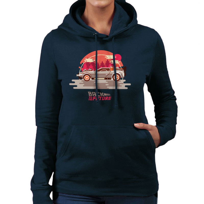 Back To The Future Delorean Forest Women's Hooded Sweatshirt by Goodmorningnight - Cloud City 7