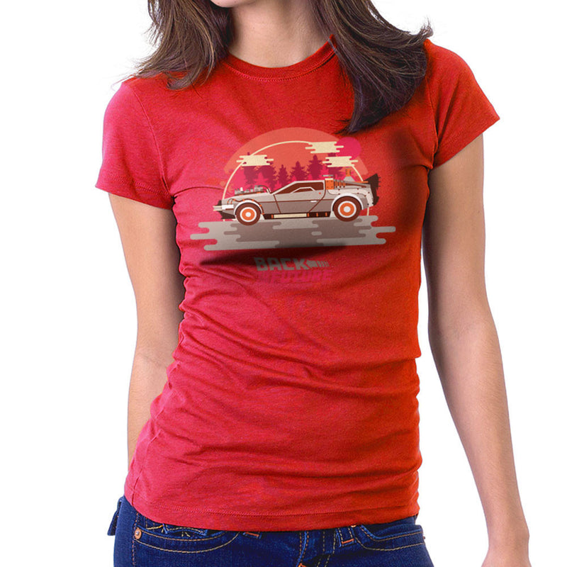 Back To The Future Delorean Forest Women's T-Shirt by Goodmorningnight - Cloud City 7