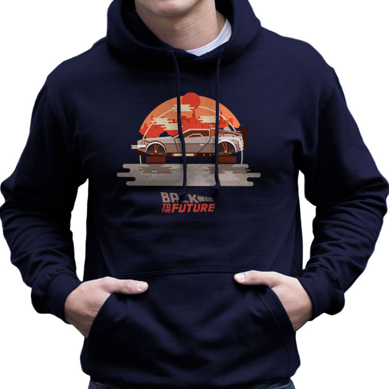 Back To The Future Delorean Flying City Men's Hooded Sweatshirt by Goodmorningnight - Cloud City 7