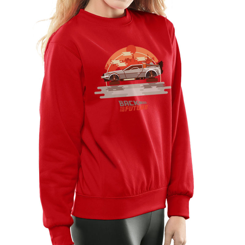 Back To The Future Delorean Flying City Women's Sweatshirt by Goodmorningnight - Cloud City 7
