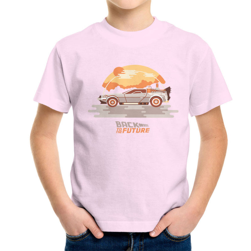 Back To The Future Delorean Clouds Kid's T-Shirt by Goodmorningnight - Cloud City 7