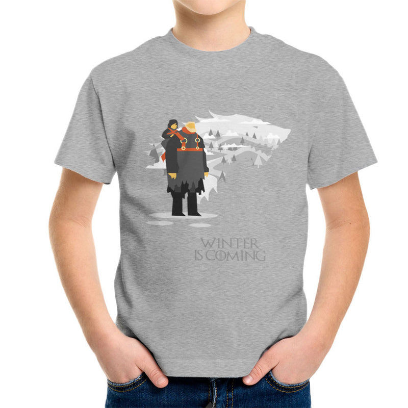 Winter Is Coming Bran And Hodor Game Of Thrones Kid's T-Shirt by Goodmorningnight - Cloud City 7