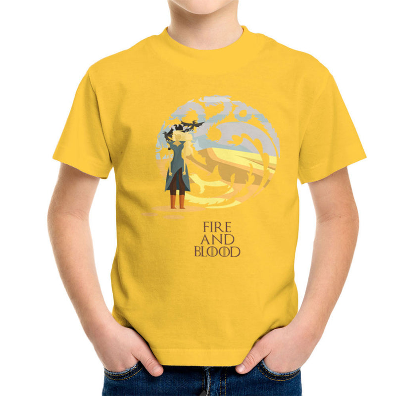 Fire And Blood Daenerys Targaryen Game Of Thrones Kid's T-Shirt by Goodmorningnight - Cloud City 7