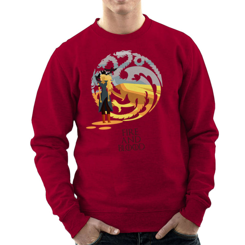 Fire And Blood Daenerys Targaryen Game Of Thrones Men's Sweatshirt by Goodmorningnight - Cloud City 7