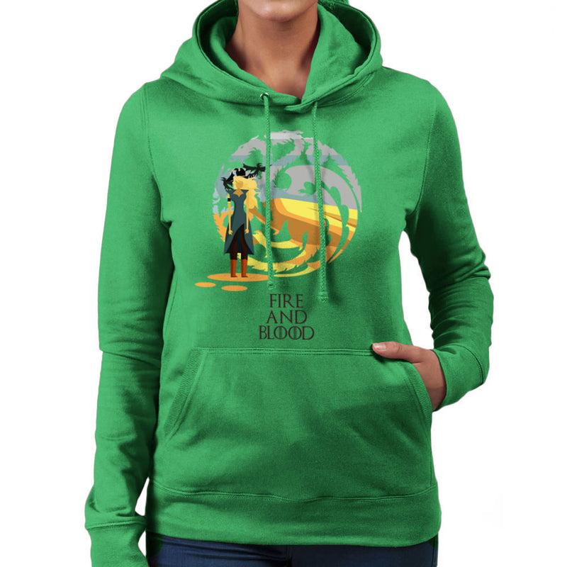 Fire And Blood Daenerys Targaryen Game Of Thrones Women's Hooded Sweatshirt by Goodmorningnight - Cloud City 7
