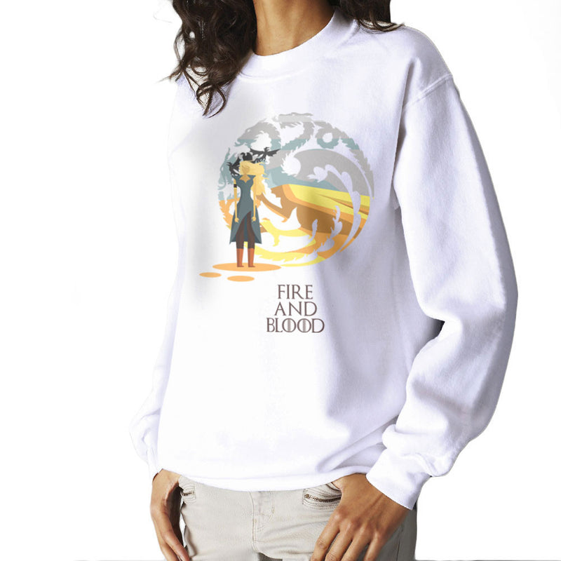 Fire And Blood Daenerys Targaryen Game Of Thrones Women's Sweatshirt by Goodmorningnight - Cloud City 7