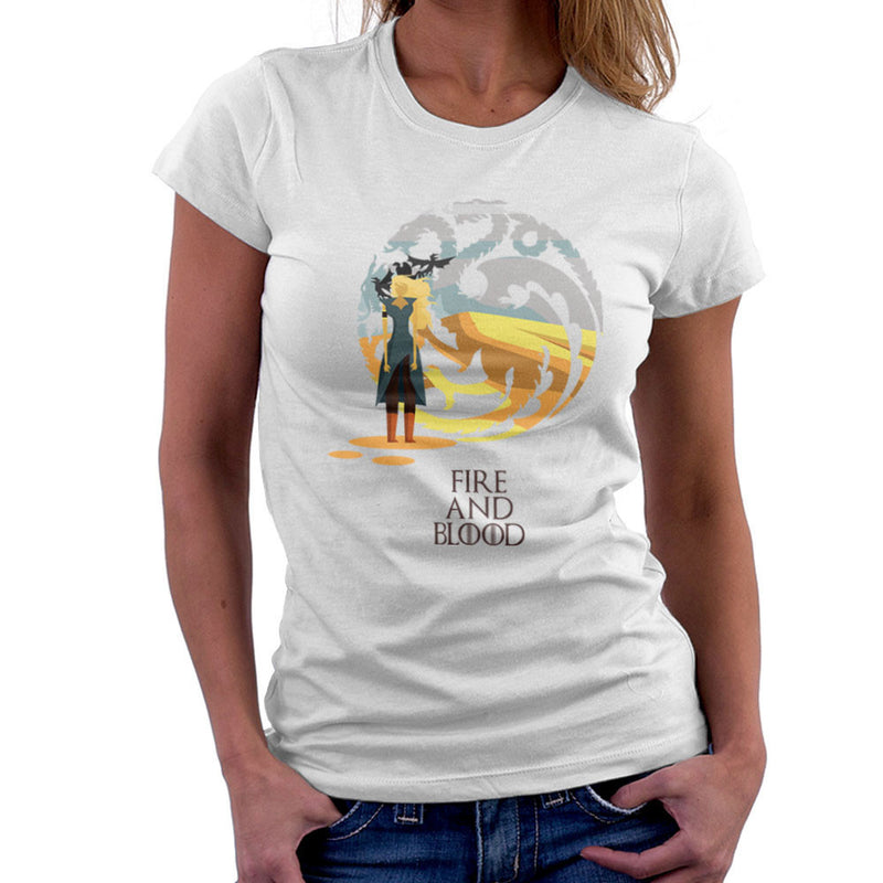 Fire And Blood Daenerys Targaryen Game Of Thrones Women's T-Shirt by Goodmorningnight - Cloud City 7