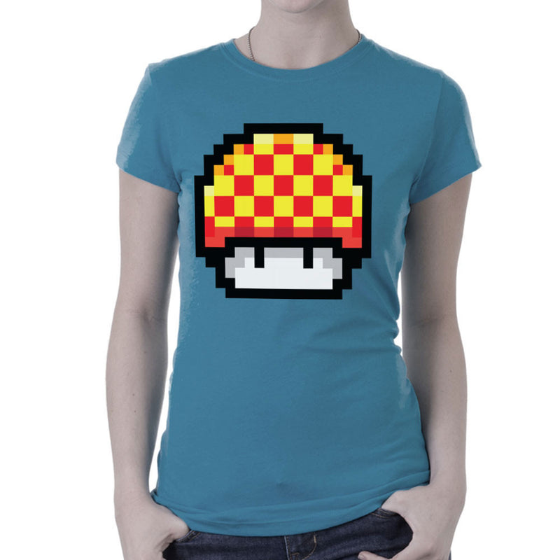 Super Mario Mushroom Yellow Checkerd Pixel Women's T-Shirt by DarkChoocoolat - Cloud City 7
