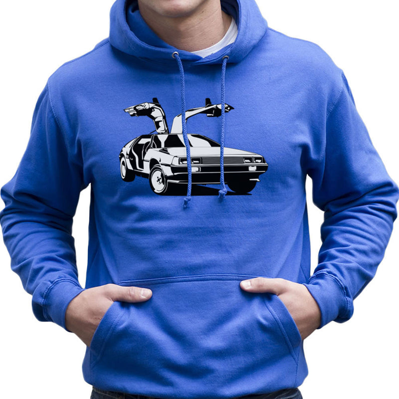 Delorean Back To The Future Men's Hooded Sweatshirt by DarkChoocoolat - Cloud City 7