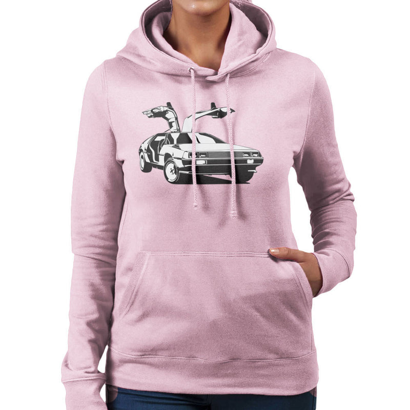 Delorean Back To The Future Women's Hooded Sweatshirt by DarkChoocoolat - Cloud City 7