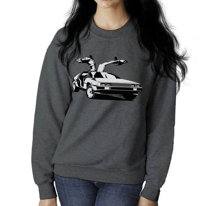 Delorean Back To The Future Women's Sweatshirt by DarkChoocoolat - Cloud City 7