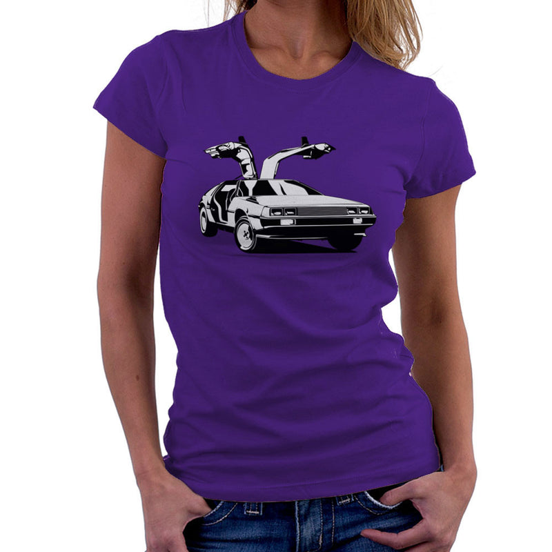 Delorean Back To The Future Women's T-Shirt by DarkChoocoolat - Cloud City 7