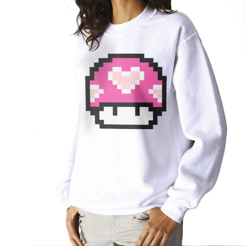Super Mario Mushroom Heart Women's Sweatshirt by DarkChoocoolat - Cloud City 7