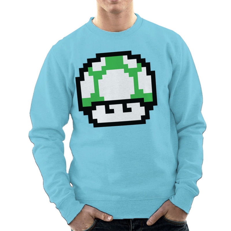 Super Mario Mushroom Green Concerned Men's Sweatshirt by DarkChoocoolat - Cloud City 7
