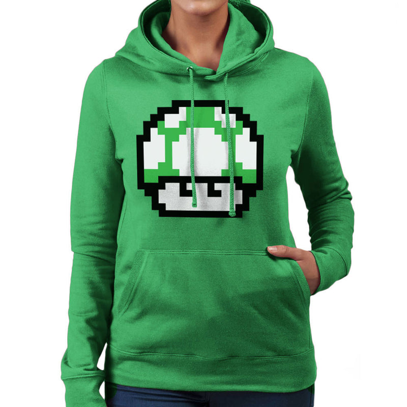 Super Mario Mushroom Green Concerned Women's Hooded Sweatshirt by DarkChoocoolat - Cloud City 7