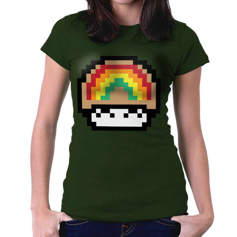 Super Mario Mushroom Rainbow Women's T-Shirt by DarkChoocoolat - Cloud City 7