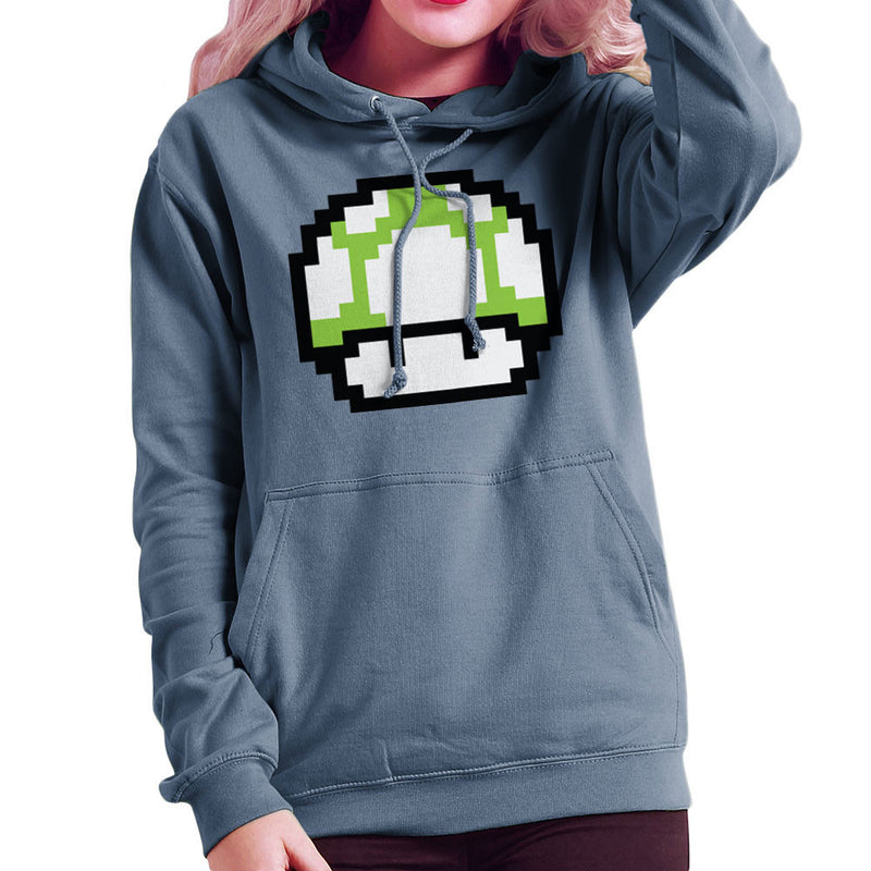 Super Mario Mushroom Green White Spots Women's Hooded Sweatshirt by DarkChoocoolat - Cloud City 7