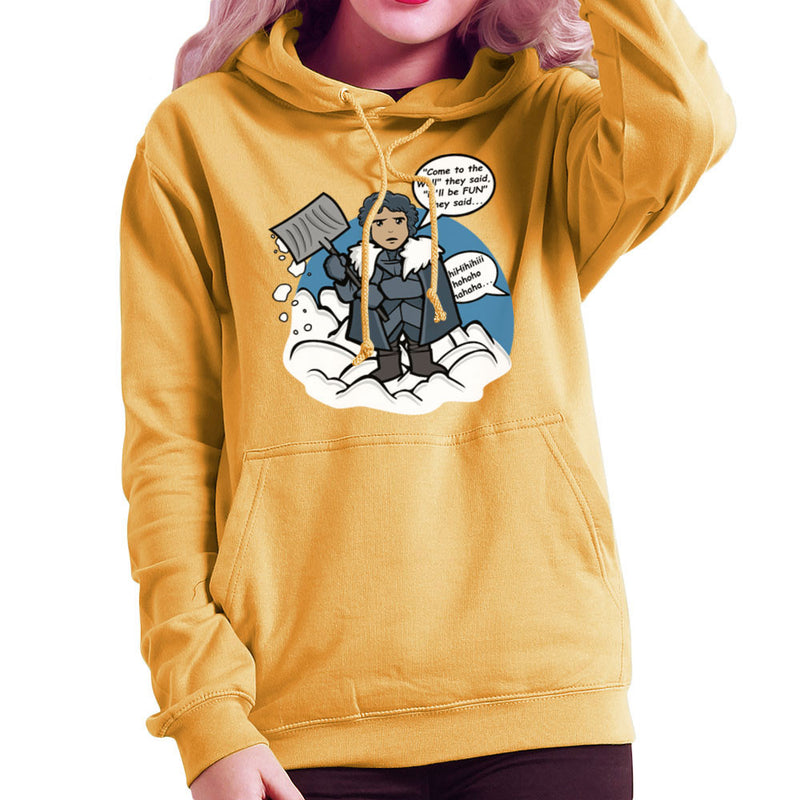 Jon Snow Shovelling The Wall Game Of Thrones Women's Hooded Sweatshirt by Kempo24 - Cloud City 7