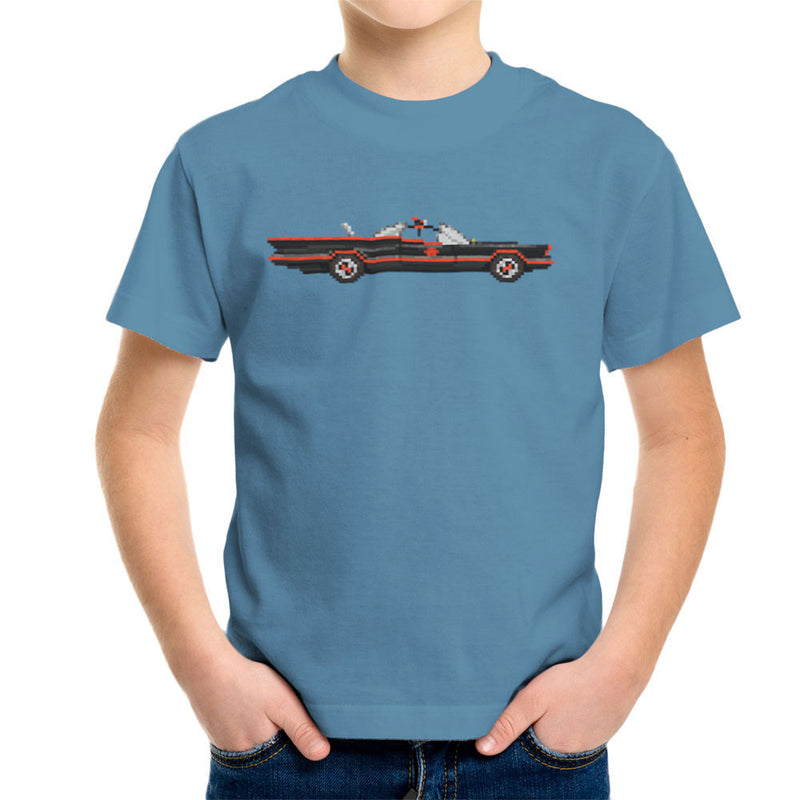 Batmobile Lincoln Futura Pixel Car 1966 Tv Show Kid's T-Shirt by Pixel Faces - Cloud City 7