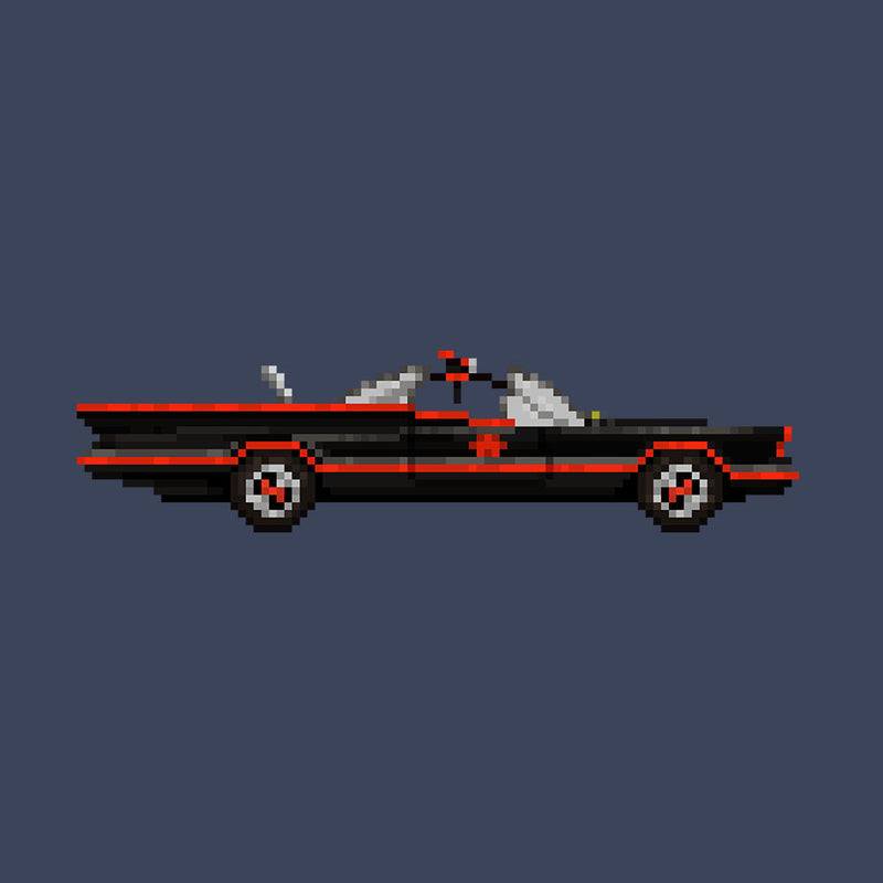 Batmobile Lincoln Futura Pixel Car 1966 Tv Show Women's T-Shirt by Pixel Faces - Cloud City 7