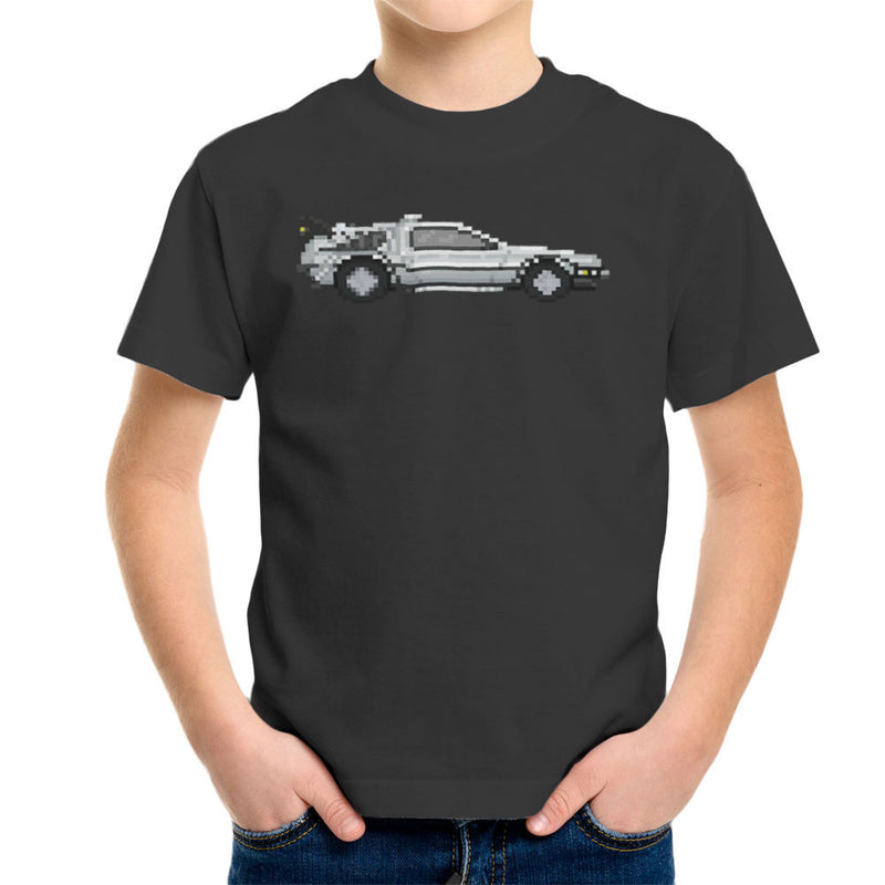 Delorean Pixel Car Back To The Future Kid's T-Shirt by Pixel Faces - Cloud City 7
