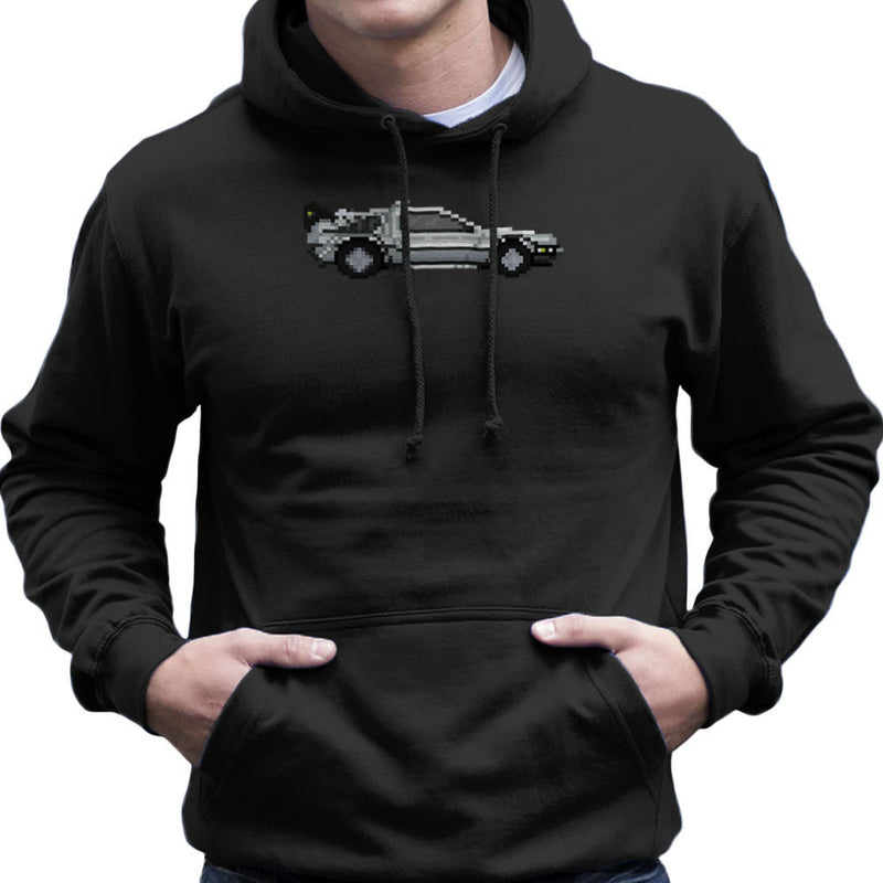 Delorean Pixel Car Back To The Future Men's Hooded Sweatshirt by Pixel Faces - Cloud City 7