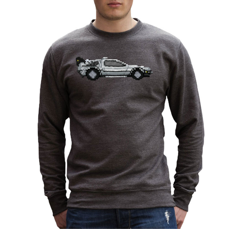 Delorean Pixel Car Back To The Future Men's Sweatshirt by Pixel Faces - Cloud City 7