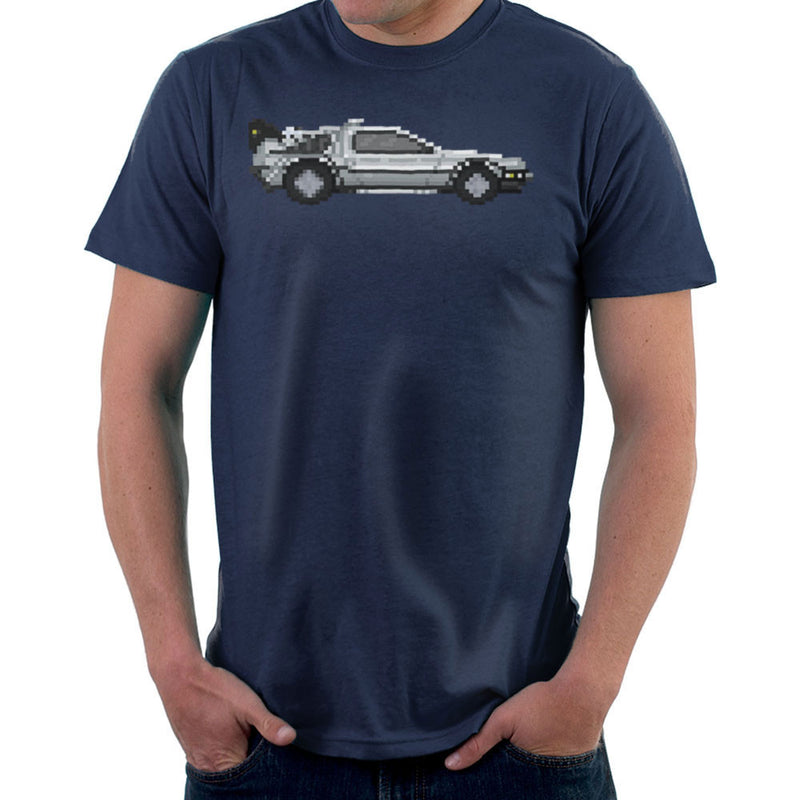 Delorean Pixel Car Back To The Future Men's T-Shirt by Pixel Faces - Cloud City 7