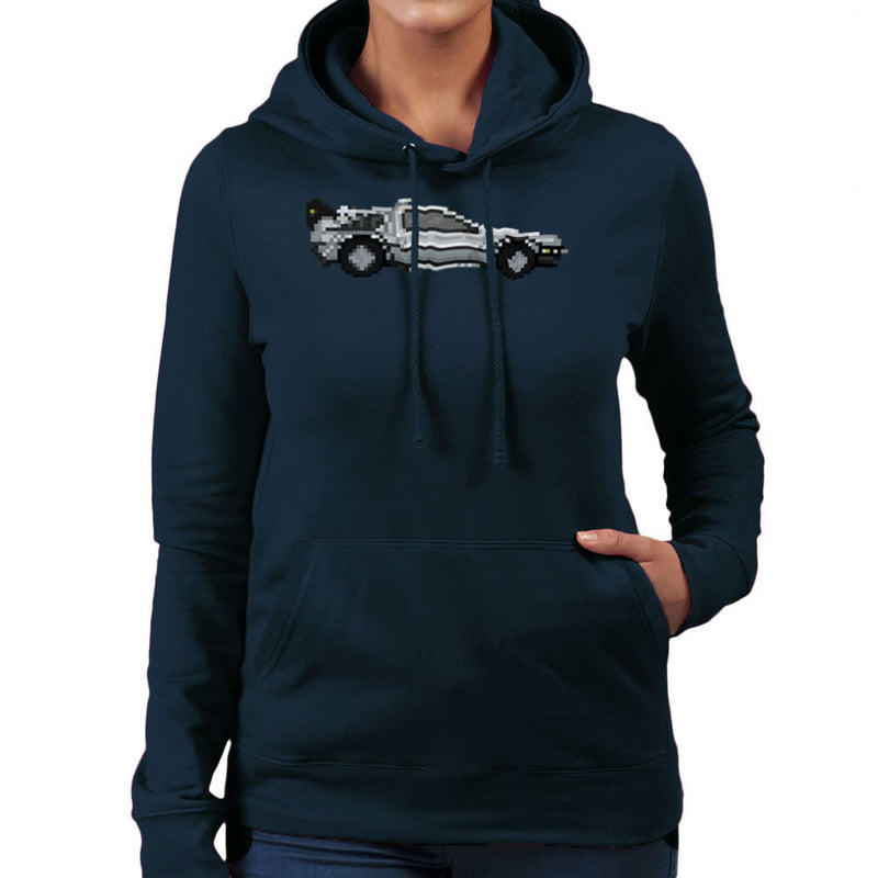 Delorean Pixel Car Back To The Future Women's Hooded Sweatshirt by Pixel Faces - Cloud City 7