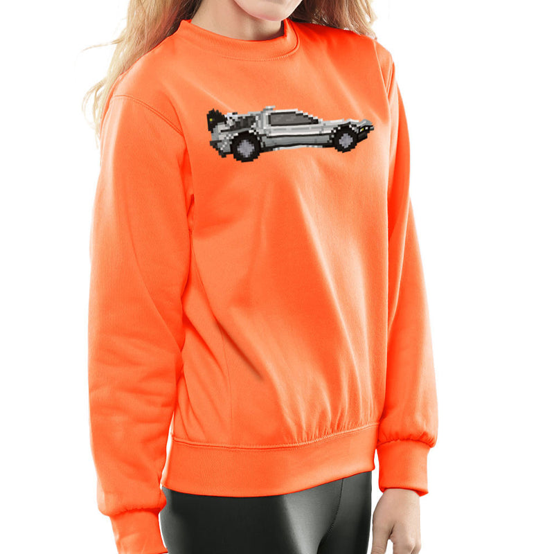 Delorean Pixel Car Back To The Future Women's Sweatshirt by Pixel Faces - Cloud City 7