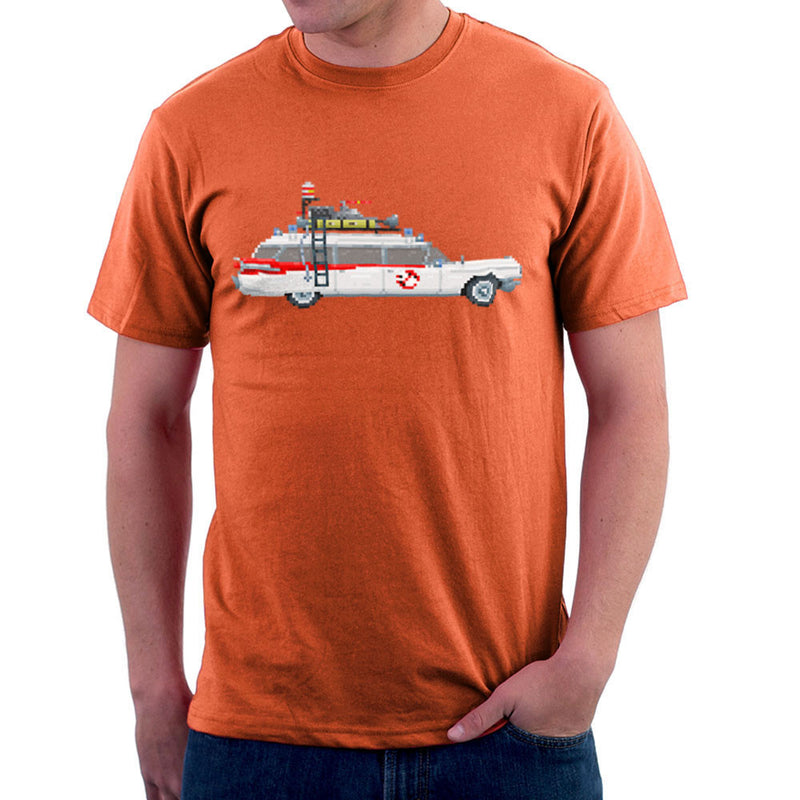 Ecto 1 Pixel Car Ghostbusters 1984 Cadillac Men's T-Shirt by Pixel Faces - Cloud City 7