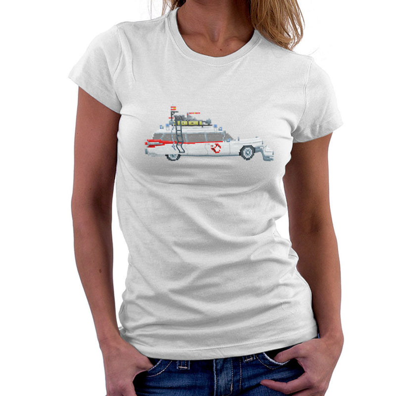 Ecto 1 Pixel Car Ghostbusters 1984 Cadillac Women's T-Shirt by Pixel Faces - Cloud City 7